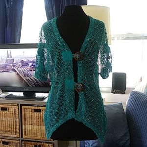 Mirror Image teal swimsuit coverup size M